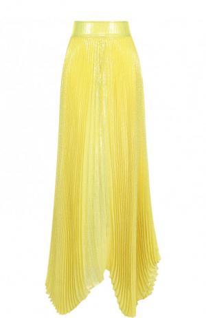 Плиссированная юбка-макси с широким поясом из шелка Alice + Olivia. Цвет: желтый
