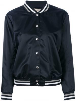 Атласная куртка с принтом логотипа Maison Kitsuné. Цвет: синий