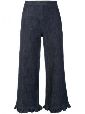 Широкие укороченные брюки Manoush. Цвет: синий