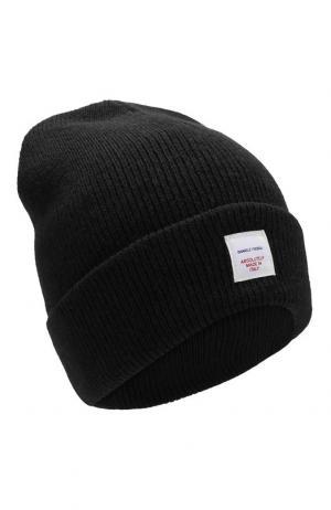 Шерстяная шапка с логотипом бренда Daniele Fiesoli. Цвет: черный