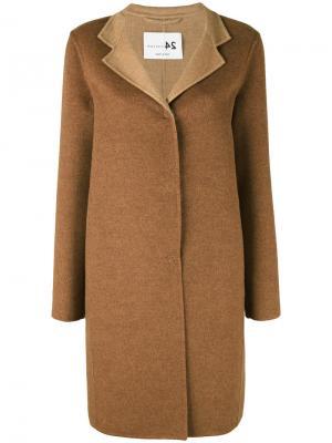 Пальто на пуговицах средней длины Manzoni 24. Цвет: коричневый