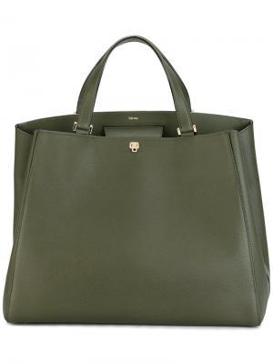 Большая сумка-тоут Valextra. Цвет: зелёный