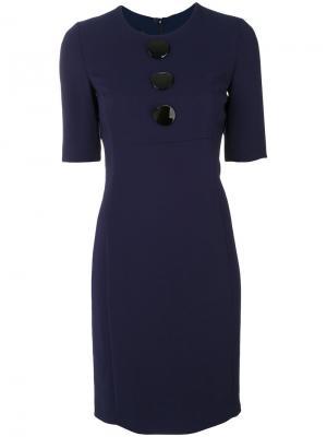 Приталенное платье с большими пуговицами Emporio Armani. Цвет: синий