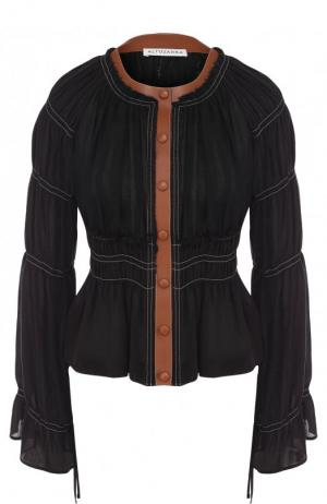 Приталенная блуза из смеси льна и хлопка с контрастной отделкой Altuzarra. Цвет: черный