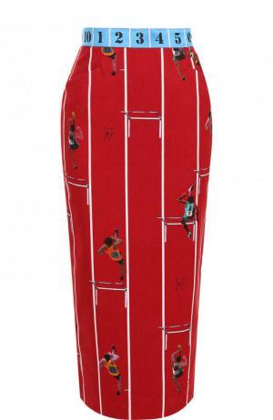 Хлопковая юбка-миди с принтом Stella Jean. Цвет: красный