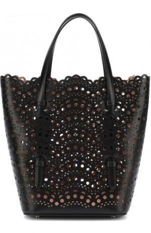 Кожаная сумка с перфорацией Alaia. Цвет: черный