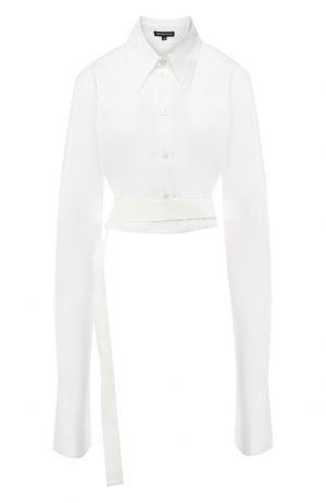 Хлопковая блузка с поясом Ann Demeulemeester. Цвет: белый