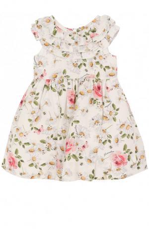 Платье из вискозы с принтом и оборками Monnalisa. Цвет: белый