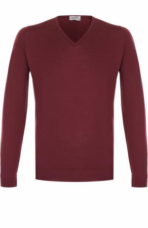 Шерстяной однотонный пуловер John Smedley. Цвет: бордовый