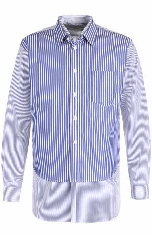 Хлопковая рубашка свободного кроя с отделкой Comme des Garcons. Цвет: синий
