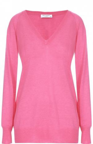 Удлиненный пуловер с V-образным вырезом Equipment. Цвет: розовый