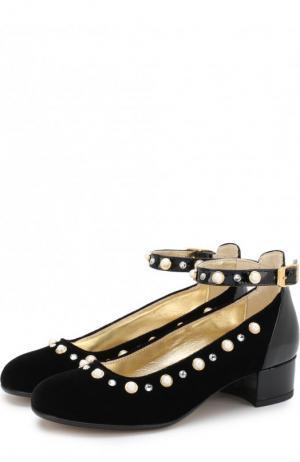 Текстильные туфли с лаковой отделкой и стразами Missouri. Цвет: черный