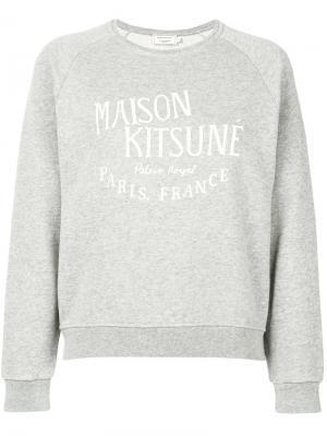 Толстовка с принтом логотипа Maison Kitsuné. Цвет: серый