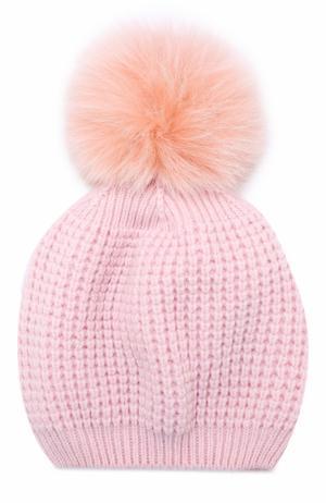 Кашемировая шапка фактурной вязки с меховым помпоном Kashja` Cashmere. Цвет: светло-розовый