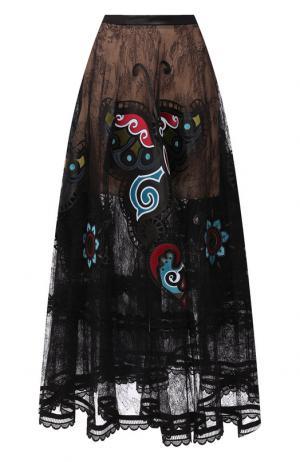 Юбка-макси с декоративной отделкой Elie Saab. Цвет: черный