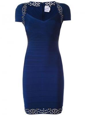 Приталенное платье с заклепками Hervé Léger. Цвет: синий