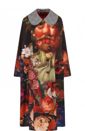 Двубортное пальто свободного кроя с принтом Comme des Garcons. Цвет: разноцветный