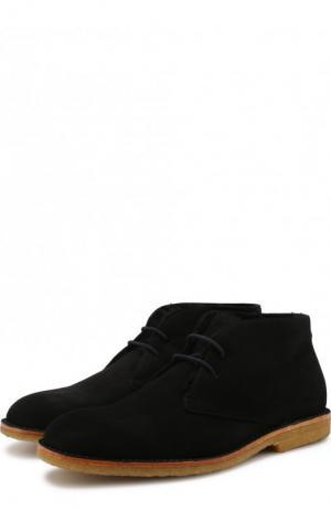 Замшевые ботинки на шнуровке с внутренней меховой отделкой Brioni. Цвет: черный