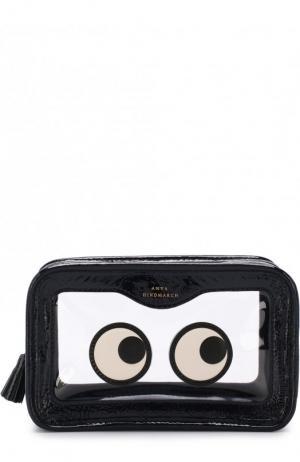 Кожаная косметичка Eyes Anya Hindmarch. Цвет: темно-синий