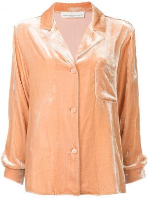 Бархатная пижамная рубашка Golden Goose Deluxe Brand. Цвет: розовый и фиолетовый