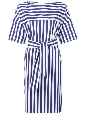 Полосатое платье с запахом Aspesi. Цвет: синий