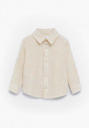 Рубашка Mango Kids. Цвет: желтый