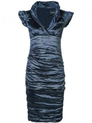 Приталенное платье Nicole Miller. Цвет: синий