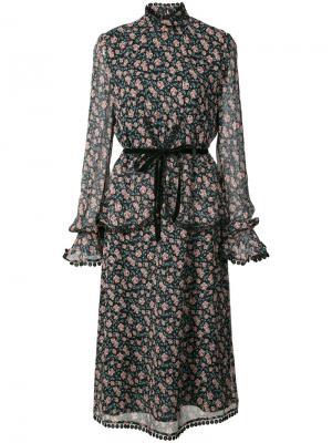 Платье с принтом и поясом Anna Sui. Цвет: чёрный