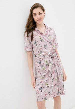 Халат и сорочка ночная Dansanti. Цвет: розовый