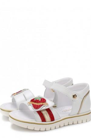 Кожаные сандалии с застежками велькро и стразами Missouri. Цвет: белый
