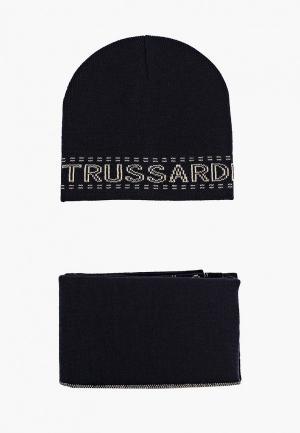 Шапка и шарф Trussardi. Цвет: синий