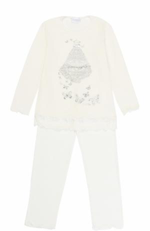 Пижама с кружевной отделкой и металлизированным принтом La Perla. Цвет: белый