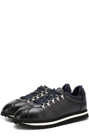 Кожаные кроссовки на шнуровке с внутренней меховой отделкой Doucals Doucal's. Цвет: темно-синий