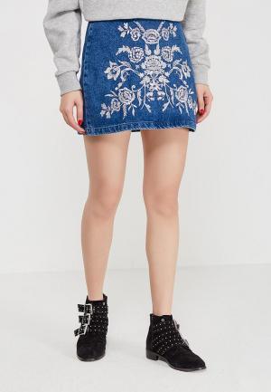Юбка джинсовая Topshop. Цвет: синий