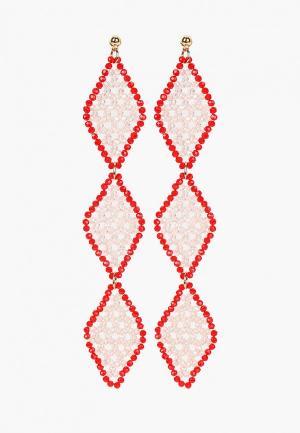 Серьги Mango. Цвет: розовый