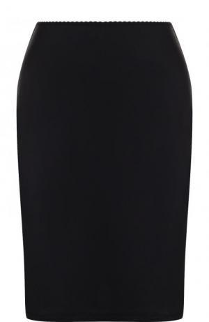 Однотонная мини-юбка из вискозы Hanro. Цвет: черный