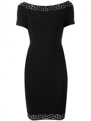 Приталенное платье с короткими рукавами Hervé Léger. Цвет: чёрный