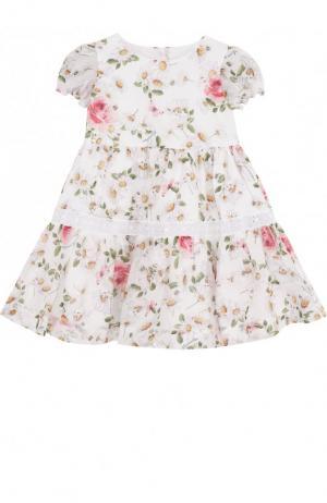 Хлопковое платье с принтом и кружевной отделкой Monnalisa. Цвет: белый