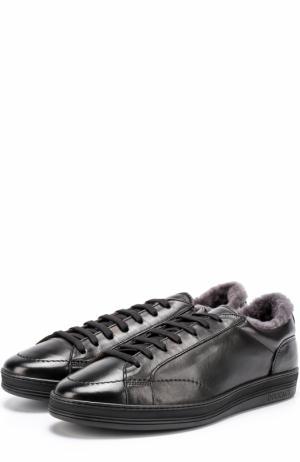 Кожаные кеды на шнуровке с внутренней меховой отделкой Doucals Doucal's. Цвет: черный