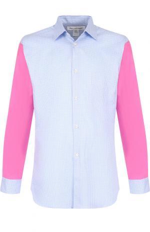 Хлопковая рубашка с воротником кент Comme des Garcons. Цвет: синий