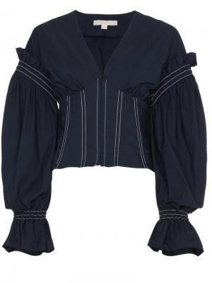 Блузка с корсетом Jonathan Simkhai. Цвет: синий