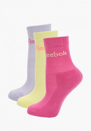 Носки 3 пары Reebok. Цвет: разноцветный