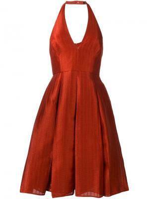 Платье с вырезом халтер Halston Heritage. Цвет: красный