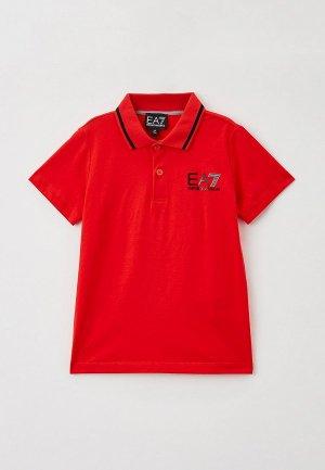 Поло EA7. Цвет: красный