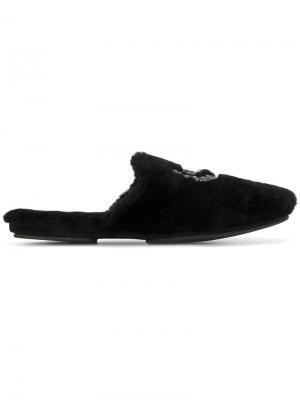 Меховые слиперы Dolce & Gabbana. Цвет: чёрный