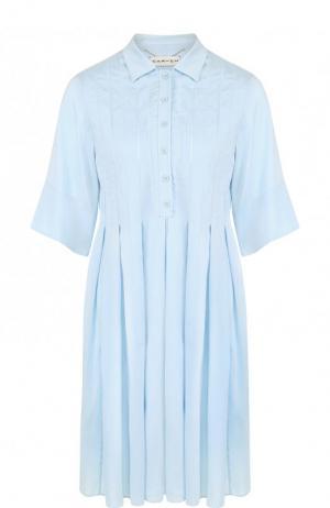 Приталенное шелковое мини-платье Carven. Цвет: голубой