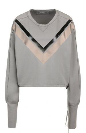 Хлопковый пуловер с круглым вырезом и декоративной отделкой Roque. Цвет: серый