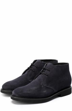 Замшевые ботинки на шнуровке с внутренней меховой отделкой Doucals Doucal's. Цвет: темно-синий