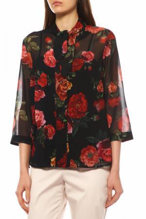 Блуза с топом BOVONA. Цвет: черный