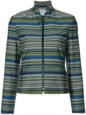 Приталенный пиджак в полоску Akris Punto. Цвет: зелёный